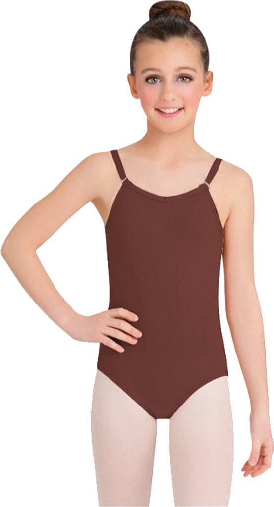 Girls' Capezio Dance Camisole Leotard with Adjustable Straps, Espresso, large, image 1