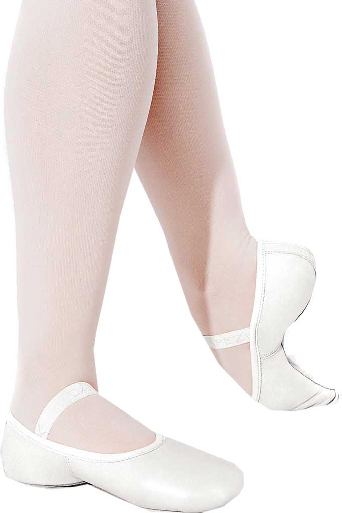 Girls' Capezio Dance Lily Ballet Shoe, White, large, image 1
