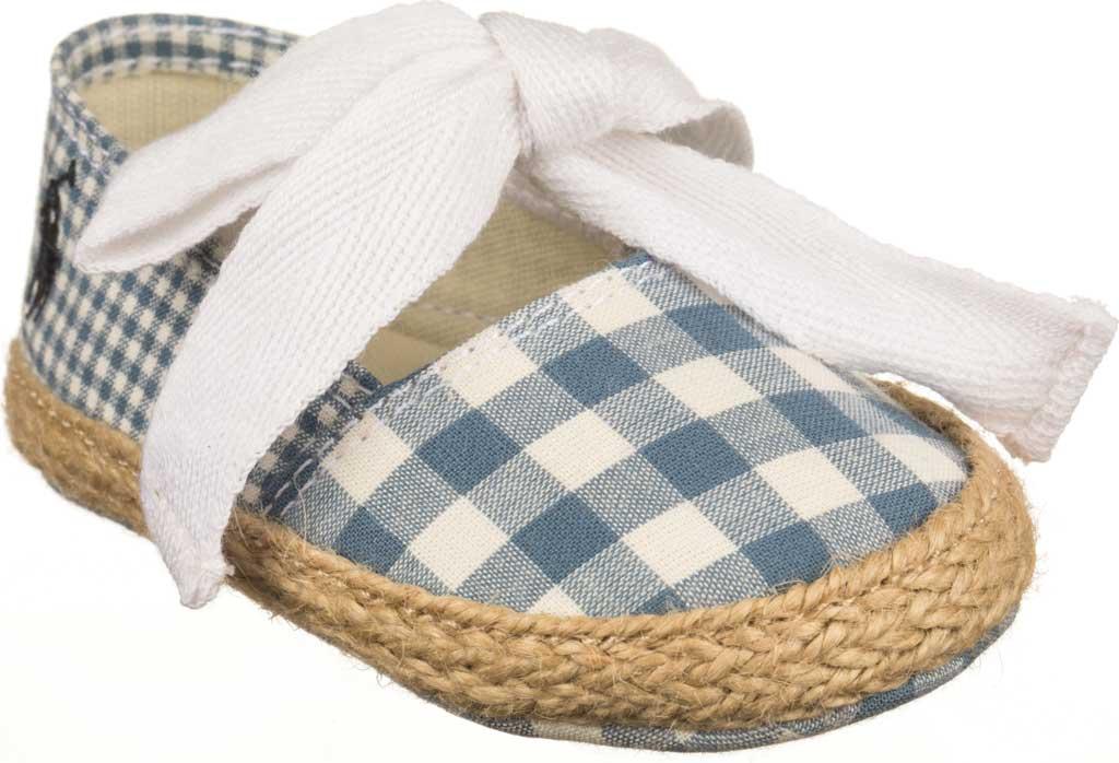 Infant Polo Ralph Lauren Bowman Tie Espadrille, Blue Gingham Fabric, large, image 1