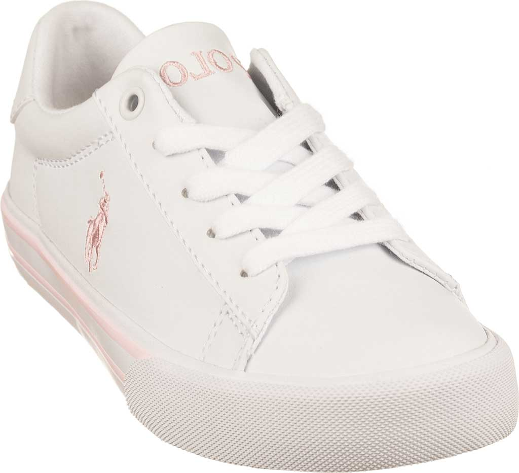 Girls' Polo Ralph Lauren Easten II Sneaker - Little Kid, White/Light Pink Polyurethane, large, image 1
