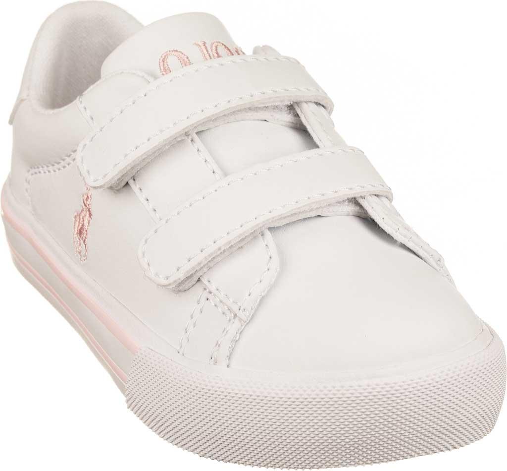 Girls' Polo Ralph Lauren Easten II Ez Sneaker - Little Kid, White/Light Pink Polyurethane, large, image 1