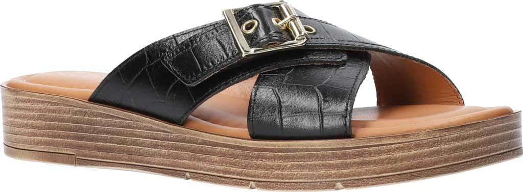 Women's Bella Vita Con-Italy Platform Slide, Black Croco Italian Leather, large, image 1
