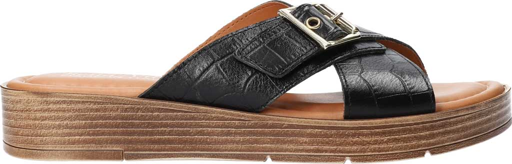 Women's Bella Vita Con-Italy Platform Slide, Black Croco Italian Leather, large, image 2