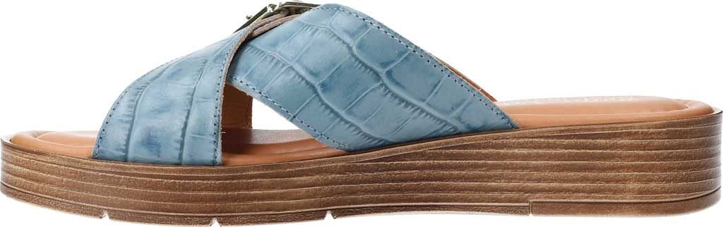 Women's Bella Vita Con-Italy Platform Slide, Denim Croco Italian Leather, large, image 3