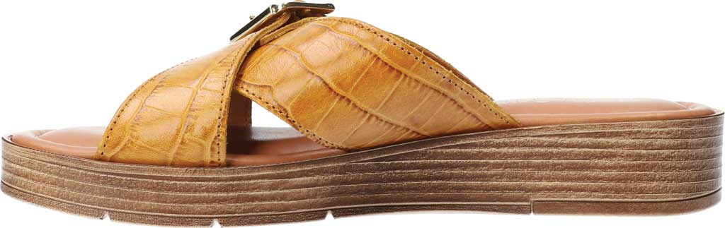 Women's Bella Vita Con-Italy Platform Slide, Mustard Croco Italian Leather, large, image 3