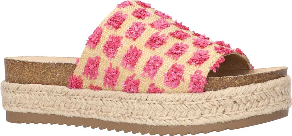 Women's Bella Vita Satara Flatform Slide, Natural Raffia/Pink Pompoms Synthetic, large, image 1