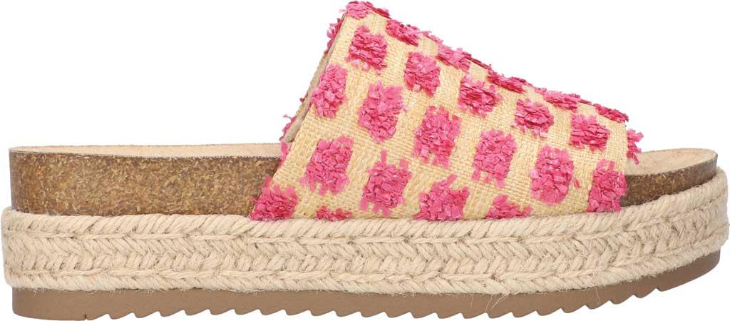 Women's Bella Vita Satara Flatform Slide, Natural Raffia/Pink Pompoms Synthetic, large, image 2