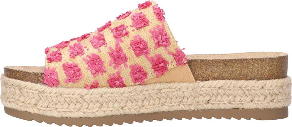 Women's Bella Vita Satara Flatform Slide, Natural Raffia/Pink Pompoms Synthetic, large, image 3