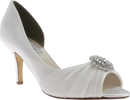 Women's Touch Ups Helen Jeweled Pump, White Satin, large, image 1