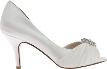 Women's Touch Ups Helen Jeweled Pump, White Satin, large, image 2