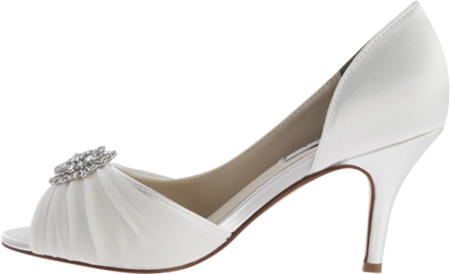 Women's Touch Ups Helen Jeweled Pump, White Satin, large, image 3