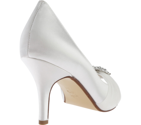 Women's Touch Ups Helen Jeweled Pump, White Satin, large, image 4
