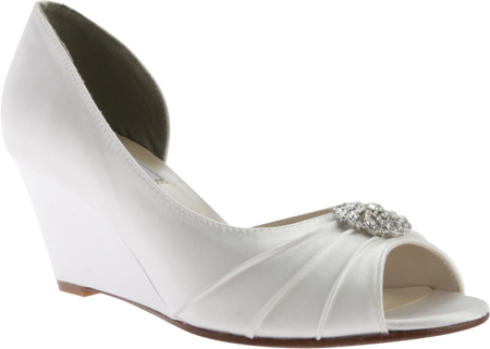 Women's Touch Ups Lee Wedge, White Satin, large, image 1