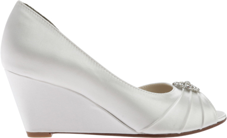 Women's Touch Ups Lee Wedge, White Satin, large, image 2