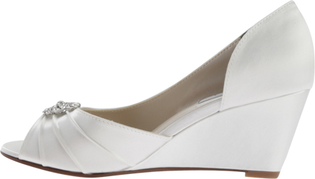 Women's Touch Ups Lee Wedge, White Satin, large, image 3