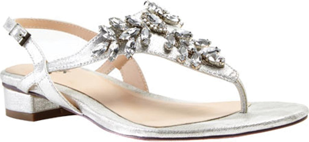 Women's Pink Paradox London Flame Thong Sandal, Silver Synthetic, large, image 1