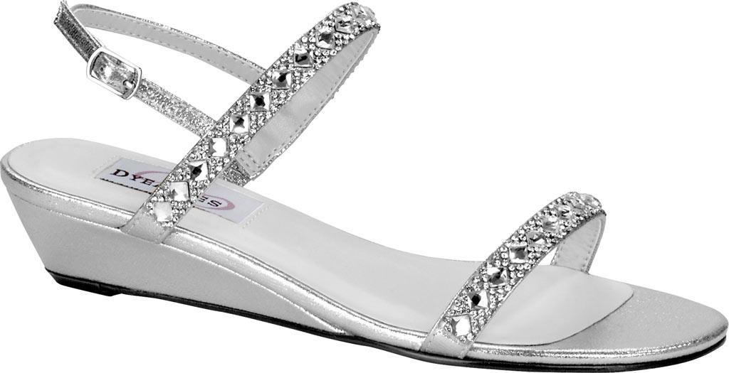 Women's Dyeables Jasmine Wedge Sandal, Silver Shimmer, large, image 1