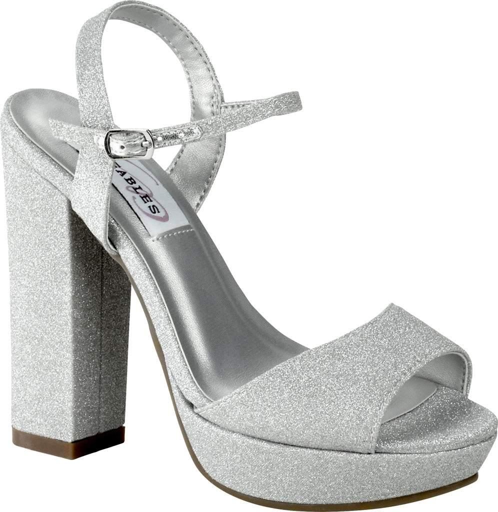 Women's Dyeables Whitta Platform Sandal, Silver Glitter, large, image 1