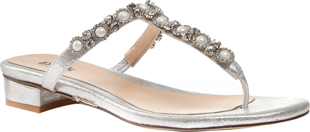 Women's Pink Paradox London Wave Dress Thong Sandal, Silver Synthetic, large, image 1