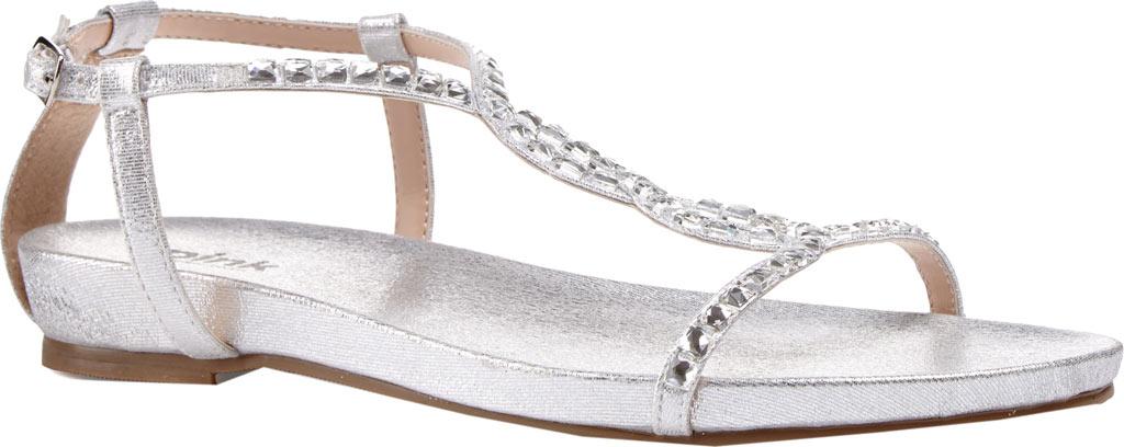 Women's Pink Paradox London Kaylee Jeweled T-Strap Sandal, Silver Textile, large, image 1
