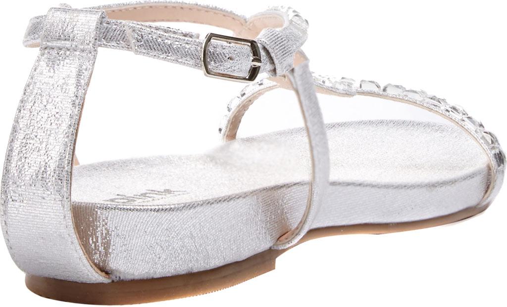 Women's Pink Paradox London Kaylee Jeweled T-Strap Sandal, Silver Textile, large, image 2