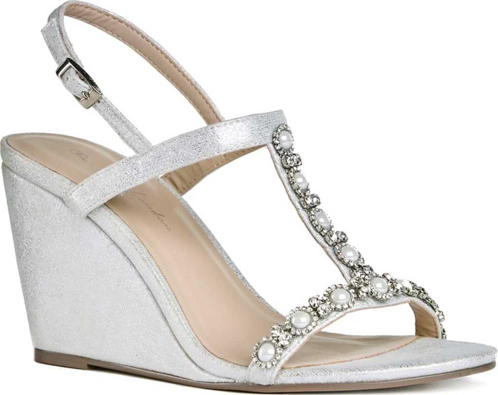 Women's Pink Paradox London Kiana High Heel Wedge T Strap Sandal, Silver Shimmer, large, image 1
