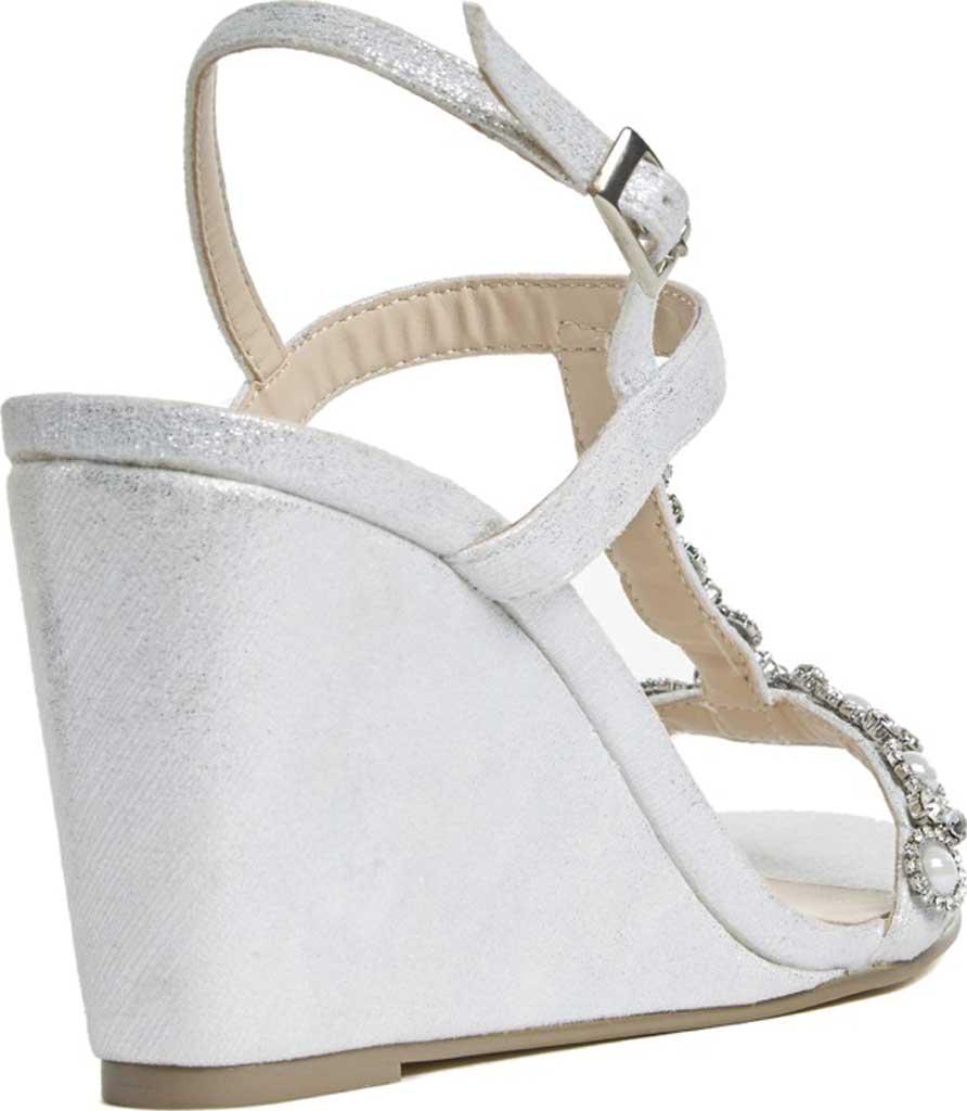 Women's Pink Paradox London Kiana High Heel Wedge T Strap Sandal, Silver Shimmer, large, image 2
