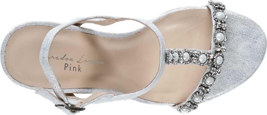 Women's Pink Paradox London Kiana High Heel Wedge T Strap Sandal, Silver Shimmer, large, image 3