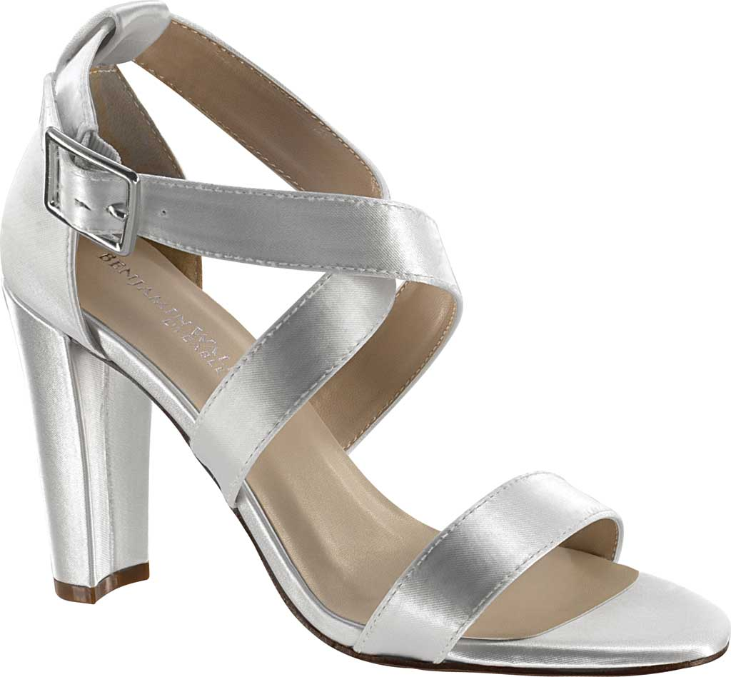 Women's Dyeables Colbie Strappy Sandal, White Satin, large, image 1