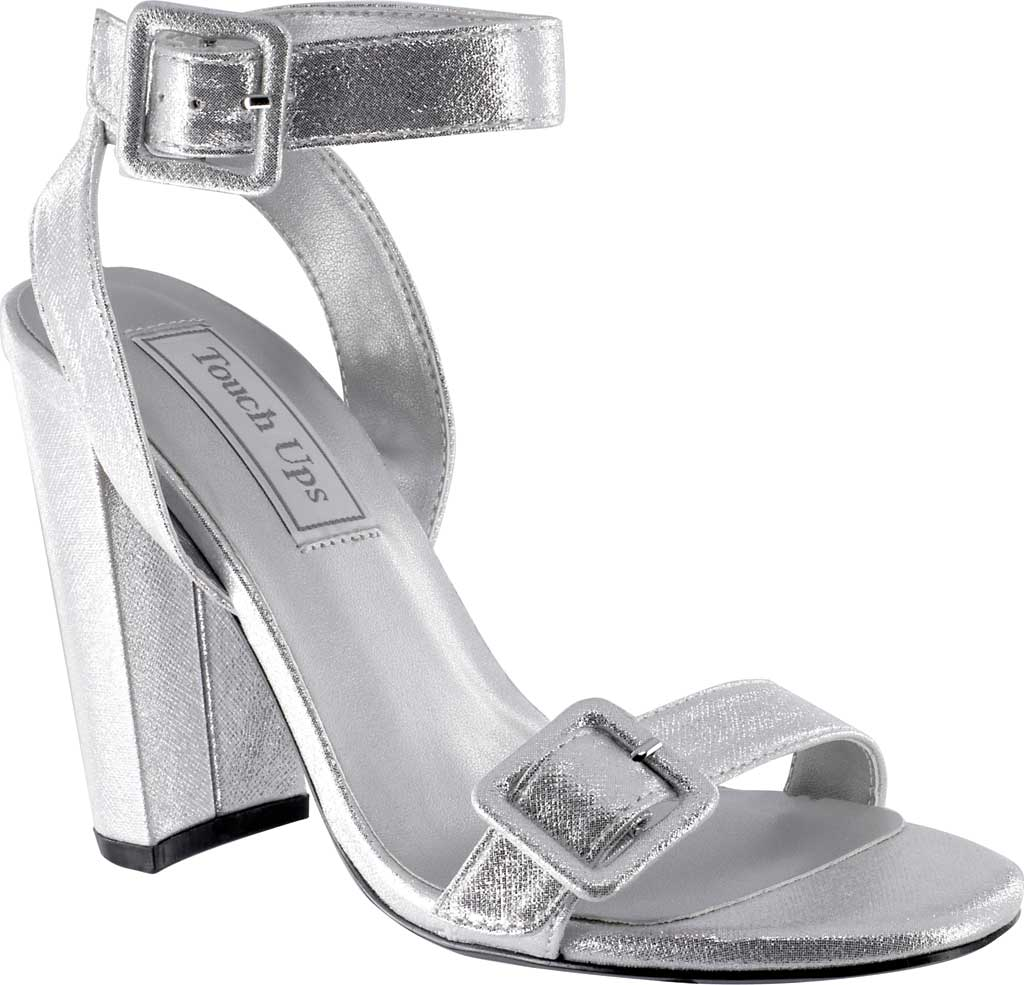 Women's Touch Ups Calista Ankle Strap Heeled Sandal, Silver Shimmer Synthetic, large, image 1