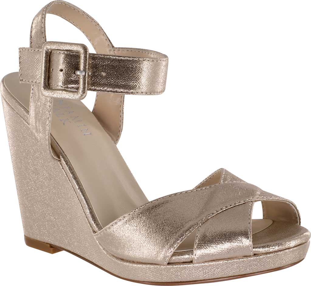 Women's Touch Ups Stormy Quarter Strap Wedge Sandal, Nude Shimmer Synthetic, large, image 1