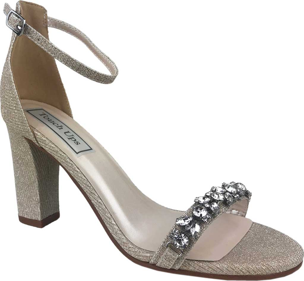 Women's Touch Ups Camila Ankle Strap Heeled Sandal, Champagne Glitter Synthetic, large, image 1