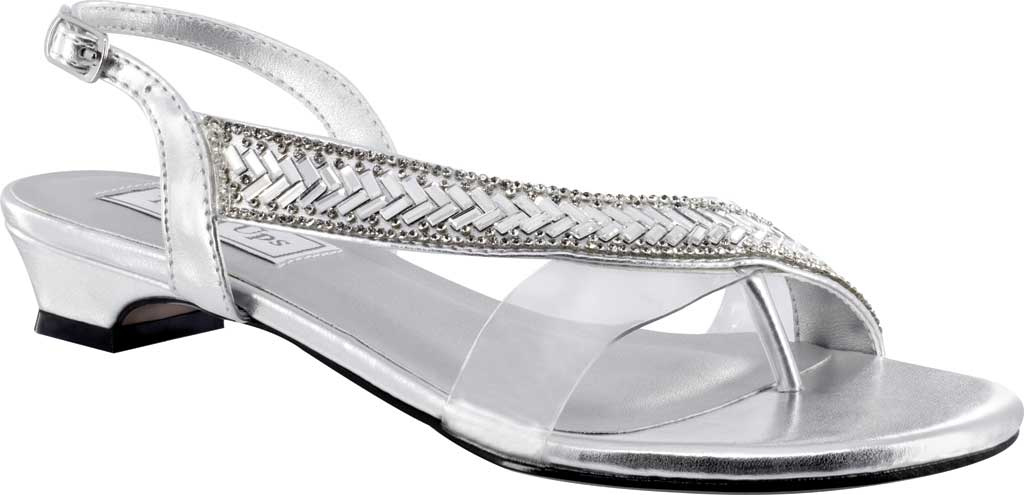 Women's Touch Ups Eleanor Thong Slingback Sandal, Silver Metallic Synthetic, large, image 1