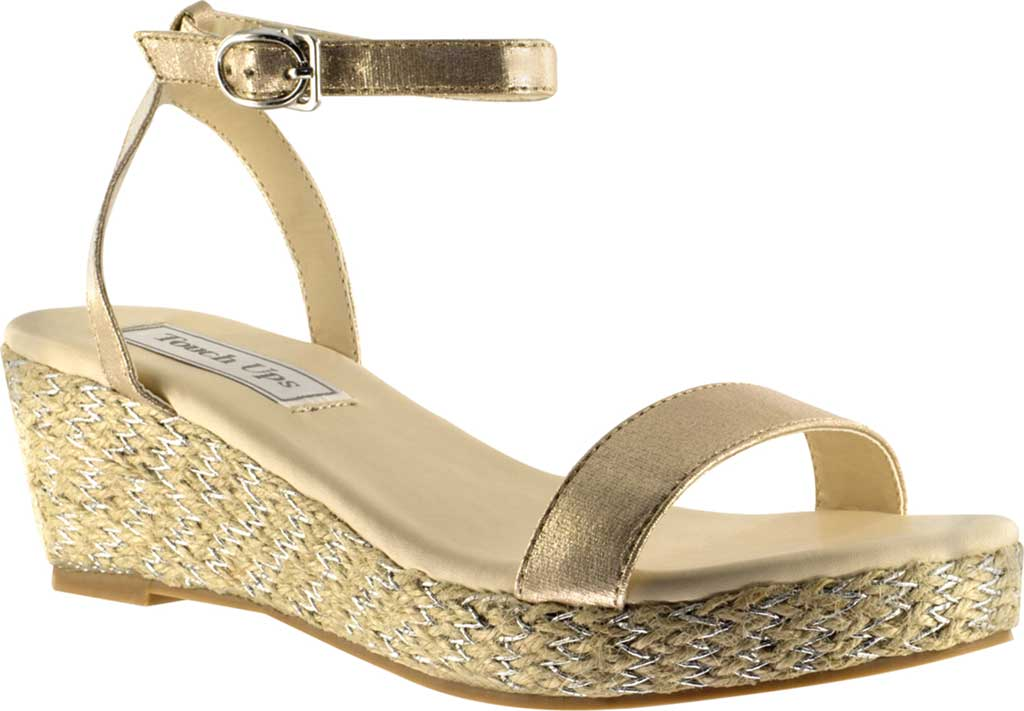 Women's Touch Ups Bailey Ankle Strap Wedge Sandal, Nude Shimmer Synthetic, large, image 1