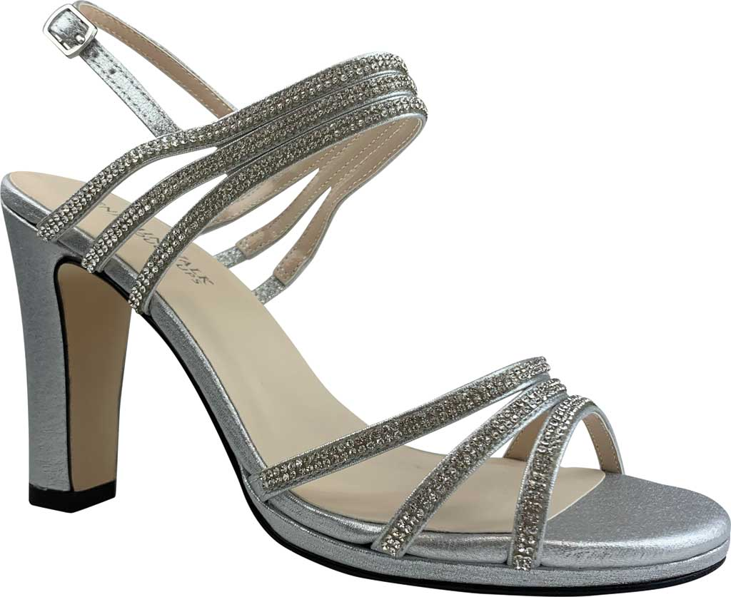 Women's Touch Ups Elizabeth Jeweled Heeled Sandal, Silver Shimmer Synthetic, large, image 1