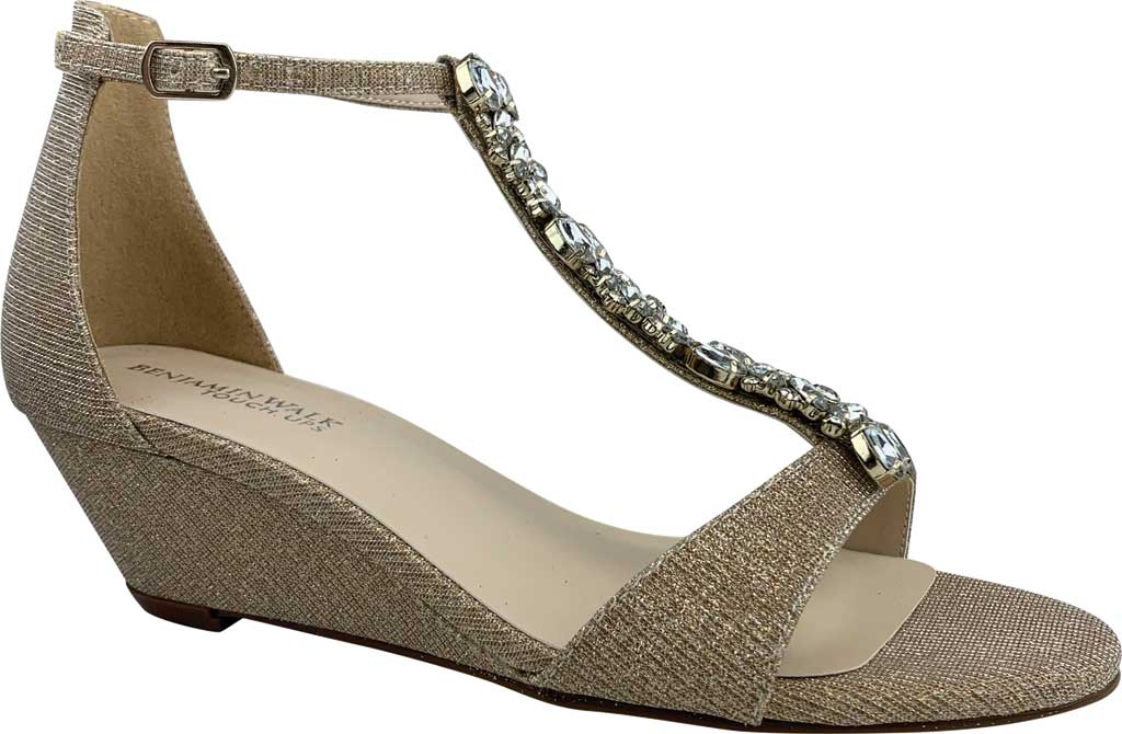 Women's Touch Ups Beatrix Wedge T Strap Sandal, Champagne Glitter Synthetic, large, image 1