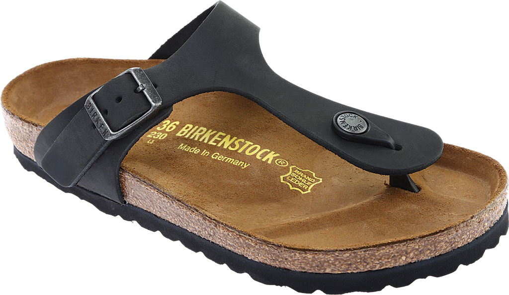 Women's Birkenstock Gizeh Thong Sandal, Black Oiled Leather, large, image 1
