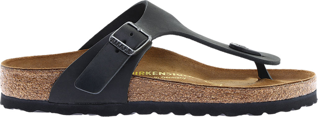 Women's Birkenstock Gizeh Thong Sandal, Black Oiled Leather, large, image 2