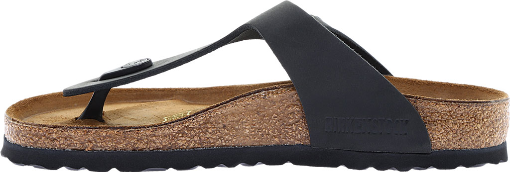 Women's Birkenstock Gizeh Thong Sandal, Black Oiled Leather, large, image 3