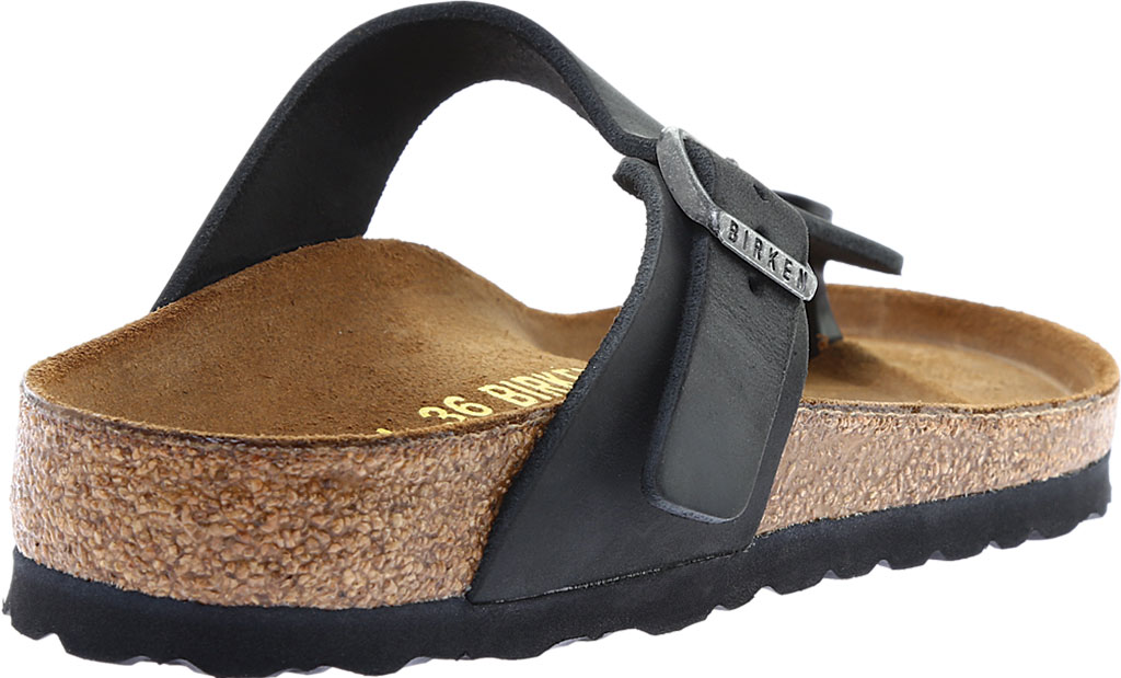 Women's Birkenstock Gizeh Thong Sandal, Black Oiled Leather, large, image 4