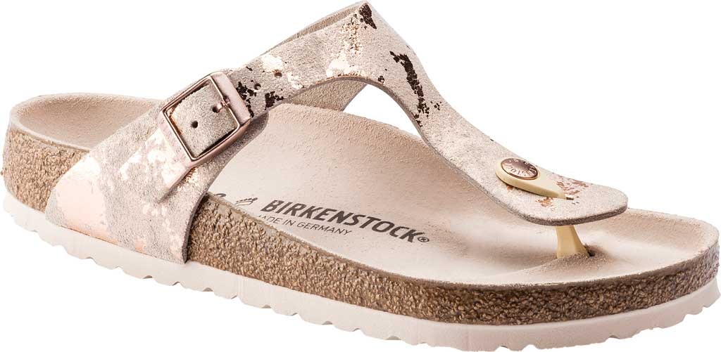 Women's Birkenstock Gizeh Thong Sandal, Vintage Metallic Rose Copper Leather, large, image 1