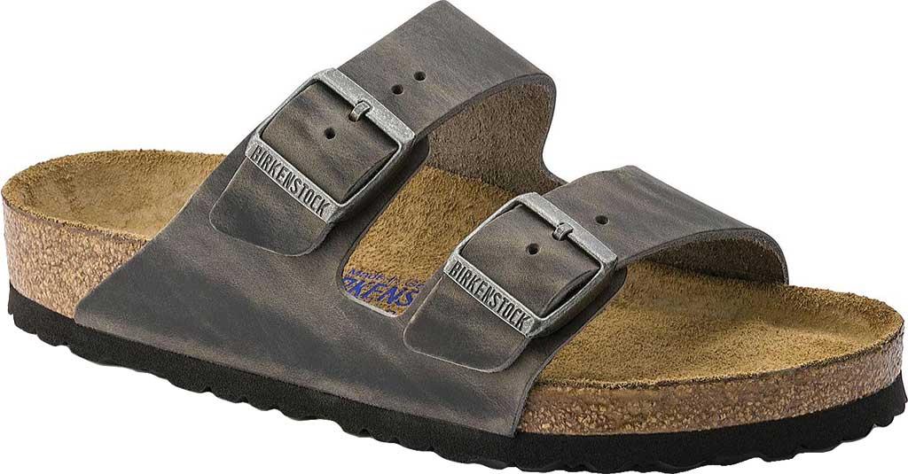 Birkenstock Arizona Soft Footbed Oil Leather Sandal, Iron Oiled Leather, large, image 1