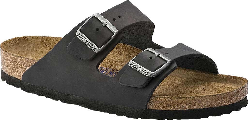 Birkenstock Arizona Soft Footbed Oil Leather Slide, Black Oiled Leather, large, image 1