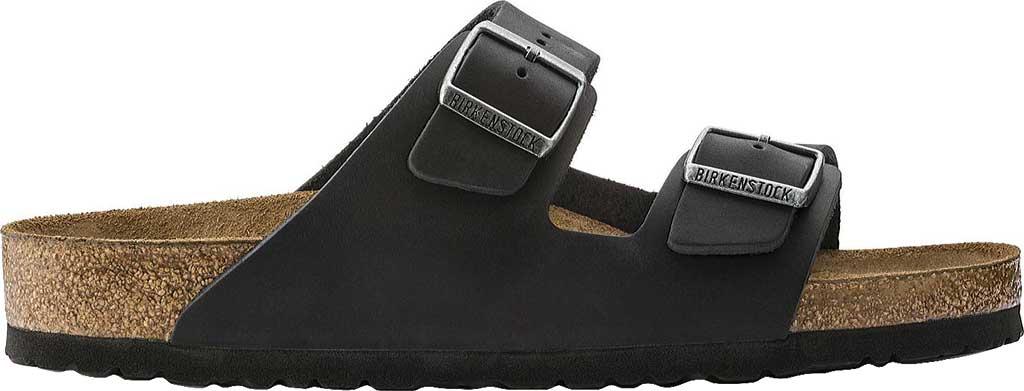 Birkenstock Arizona Soft Footbed Oil Leather Slide, Black Oiled Leather, large, image 2