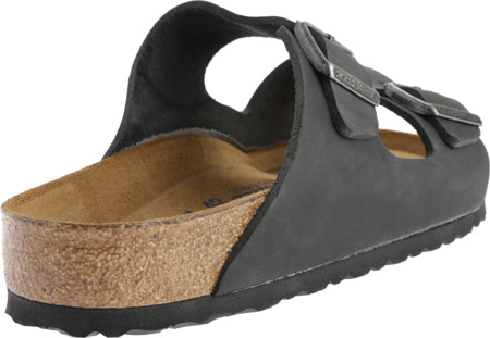 Birkenstock Arizona Soft Footbed Oil Leather Slide, Black Oiled Leather, large, image 4