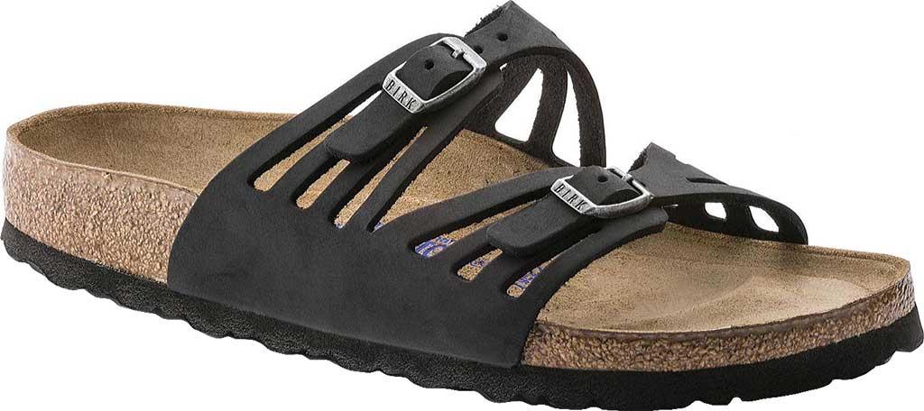 Women's Birkenstock Granada Soft Footbed, Black Oiled Leather, large, image 1