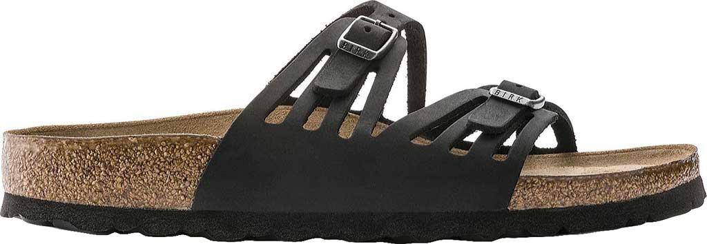 Women's Birkenstock Granada Soft Footbed, Black Oiled Leather, large, image 2