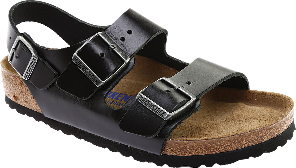 Birkenstock Milano Amalfi Leather with Soft Footbed, Black Amalfi Leather, large, image 1