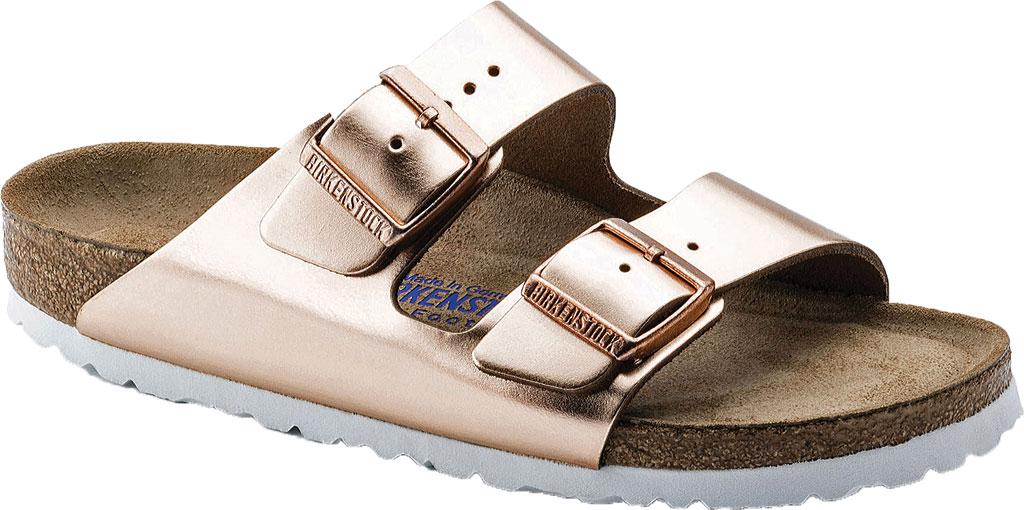 Women's Birkenstock Arizona Soft Footbed Leather Sandal, Copper Metallic, large, image 1