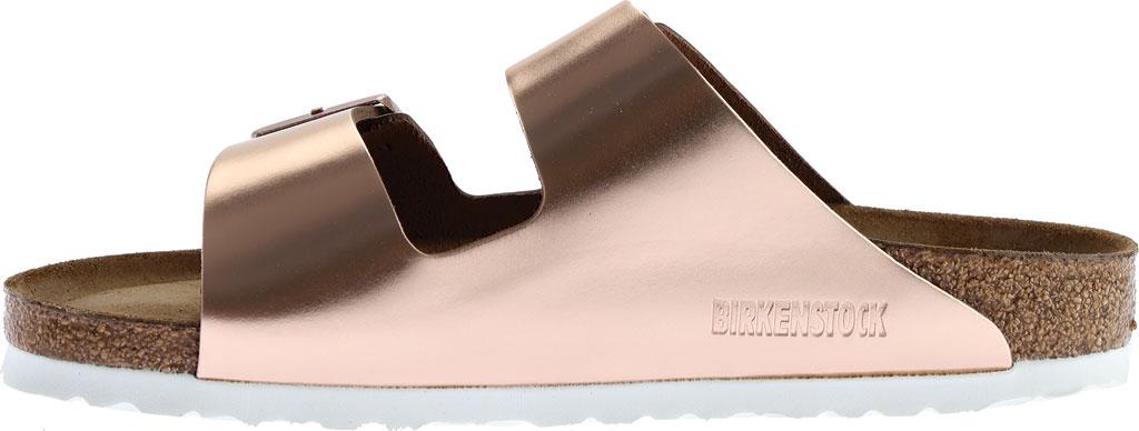 Women's Birkenstock Arizona Soft Footbed Leather Sandal, Copper Metallic, large, image 3